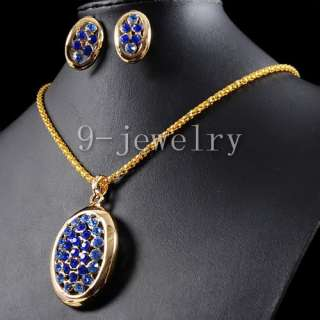 Fashion Blue CZ Gold Plated Necklace & Earrings TS0921