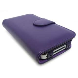 Purple Wallet Style Leather Case Cover Pouch iPhone 4 +