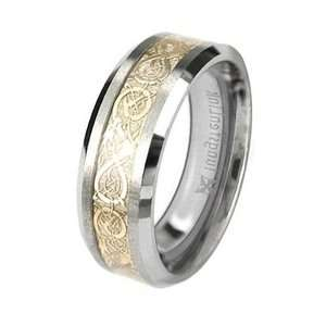 Carbide Comfort Fit Flat Men Celtic Dragon Gold Inlay Ring Band 8mm