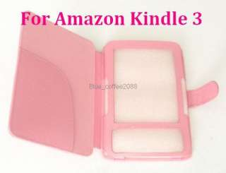 Leather Case Cover for Ebook  Kindle 3 3G Pink
