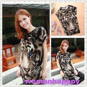 New Womens Fashion T shirts Casual Printed Tiger Long NWT Top T shirt