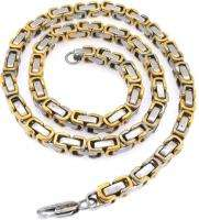 SOLID STAINLESS STEEL GOLD SILVER TONE MENS BYZANTINE NECKLACE CHAIN