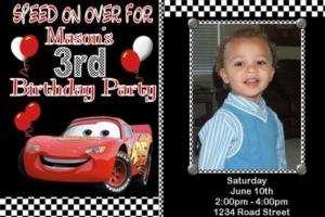 Disney Cars Personalized Photo Birthday Invitation