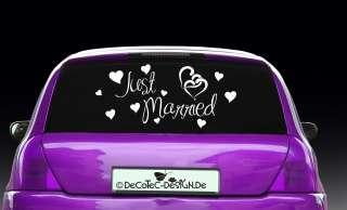 AH002 Auto Aufkleber Just Married Heckscheiben Sticker