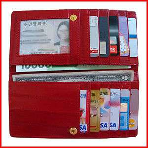 Genuine Eel Skin Leather Very Slim Wallet RED FREE
