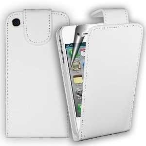 Iphone 4 4G/4S Handytasche, Etui weiß Leder , Flip Case inkl. gratis