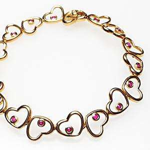 Heart Link Ruby Diamond Bracelet 14K Gold Fine Jewelry