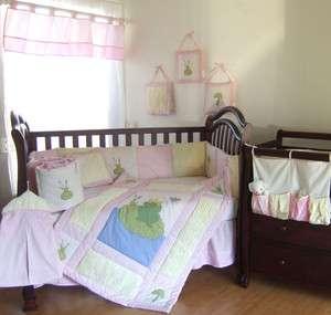 DESIGNER PINK FROGGY BABY TODDLER BEDDING SET CRIB SHEET WALL HANGING