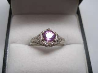 antique art deco filligree setting pink sapphire engagement ring