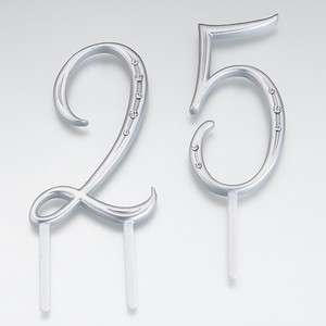 Silver Crystal Number 3 Three Birthday Anniversary Cake Topper Caketop
