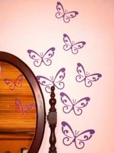 LARGE PINK Swirl Butterfly Wall Car Decals Removable
