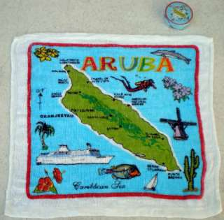 72 Magic Compressed Face Hand Towel ARUBA Map 12x12 Souvenir