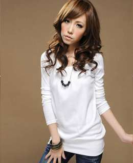 Fashion Women Lady Round Neck Ruffled Long Sleeve Slim Casual T Shirt