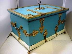 Ormolu Brass Strong Lock Locking Box with Key~Jewelry Casket 11.5lb