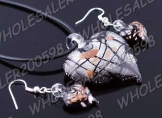 6sets Heart Lampwork Glass Pendant Necklaces&Earrings
