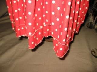 COMME DES GARCONS Long Tiered Cotton Skirt Red w/White Dots Size