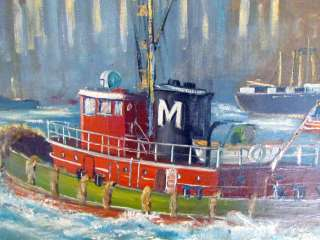 New York City Impressionist Oil Painting w/Tug Boat, Signed D.W.Fox
