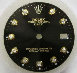 ROLEX DATE QUICKSET DIAMOND DIAL SHINY BLACK FOR GOLD