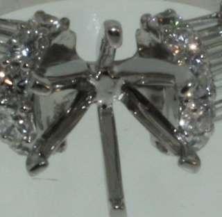 18k white gold diamond semi mount setting vintage ring