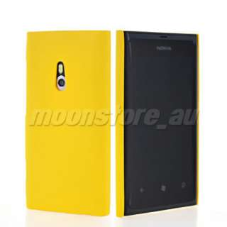 YELLOW HARD RUBBER BACK CASE FOR NOKIA LUMIA 800 COVER ACCESSORIES
