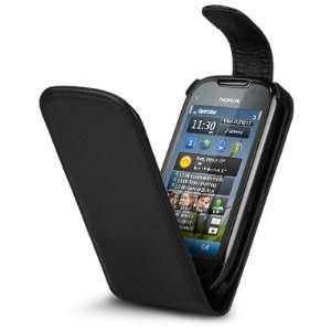 NOKIA C7 BLACK FLIP LEATHER FLIP CASE COVER   NEW