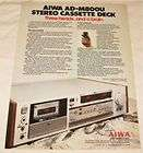 Vintage Aiwa AD R40 Stereo Cassette Deck Tape Player Recorder w