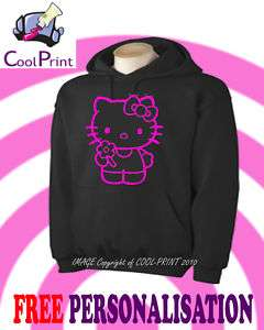 HELLO KITTY HOODIE PERSONALISED HOODY JUMPER CHILD SIZE