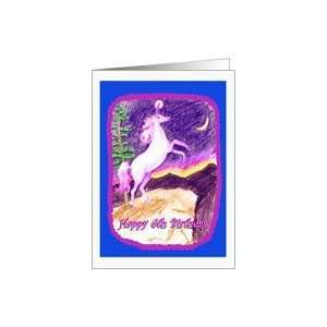 : Happy 6th Birthday! Starry Night, Purple Unicorn Card: Toys & Games