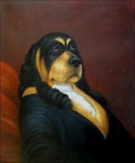 High Q. Hand Painted Oil Painting Seated Dressed Dog 20x24in