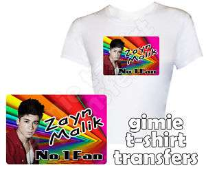 ONE DIRECTION   ZAYN MALIK   IRON ON T SHIRT TRANSFER