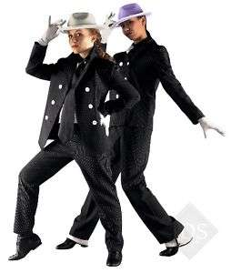 Black Pinstripe Gangster Suit Jazz Tap Dance Costume CM