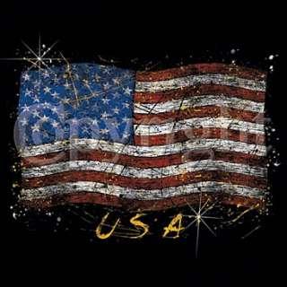 T SHIRT NOIR homme drapeau USA american flag taille XL