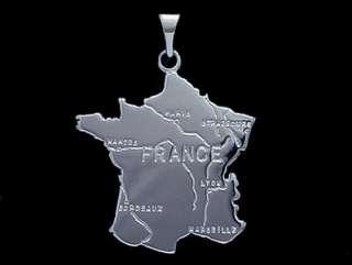 Pendentif grande carte de la France en argent + chaine