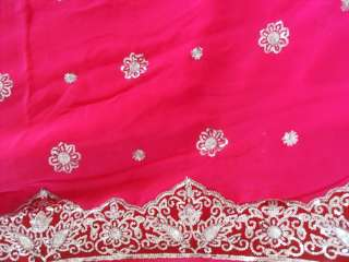 Rose Wedding Indien Sari Saree ROBE KAFTAN Ventre Danse