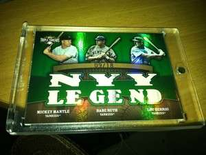 TRIPLE THREAD Mickey MANTLE Babe RUTH Lou GEHRIG Jersey NY LEGEND /18