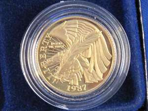 1987 W DCAM Proof Gold Constitution $5.00 B3047L