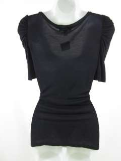 LUX Black Puff Short Sleeve Scoop Neck Collar Top Sz L
