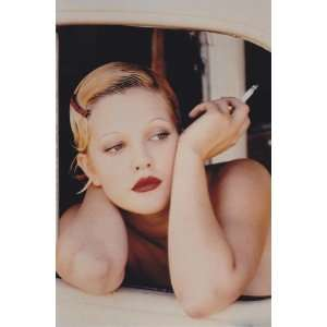 Drew Barrymore with Cigarette and Sleek Hairstyle 4x6 Photo
