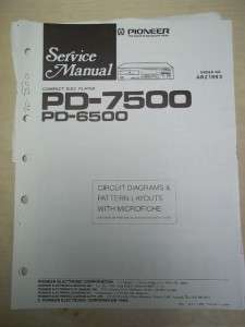 Pioneer Service Manual~PD 7500/6500 CD Player~Original~Repair