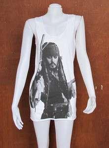 JOHNNY DEPP Pirates Of The Caribbean Art WOMEN T SHIRT DRESS Tank TOP