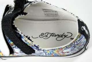Ed Hardy boys Kids VELCRO shoes tiger skulls black