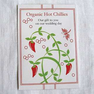 Buy our 5 pack of Organic Chillies seeds as a wedding favour for you