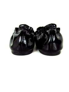 womens black patent TORY BURCH flats shoes slip ons stretch EU 38 US 7