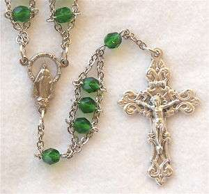Emerald Green Glass BLESSED MOTHER VIRGIN MARY Catholic Ladder Rosary