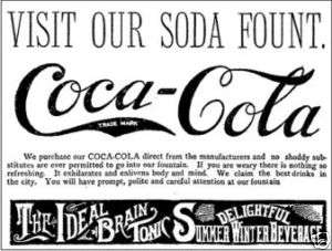 Vintage Coca Cola 1894 B&W sticker decal sign