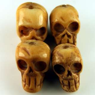 Tibet Handmade Carving Bone Skull Loose Beads 4 PCS FS