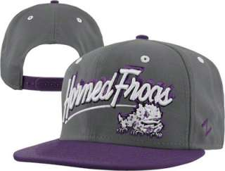 TCU Horned Frogs Medium Grey/Purple Shadow Script Snapback Adjustable