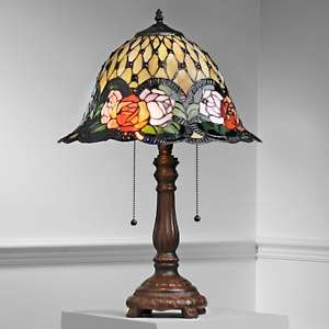 Tiffany Style Amber Glow Table Lamp with Rose Border at HSN