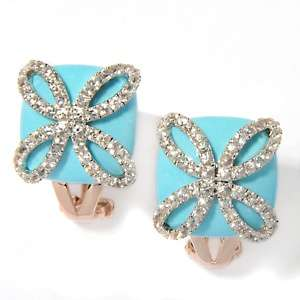 Beauty Turquoise and White Sapphire Rose Vermeil Earrings