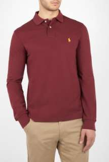 Polo Ralph Lauren  Wine Long Sleeve Custom Fit Polo by Polo Ralph